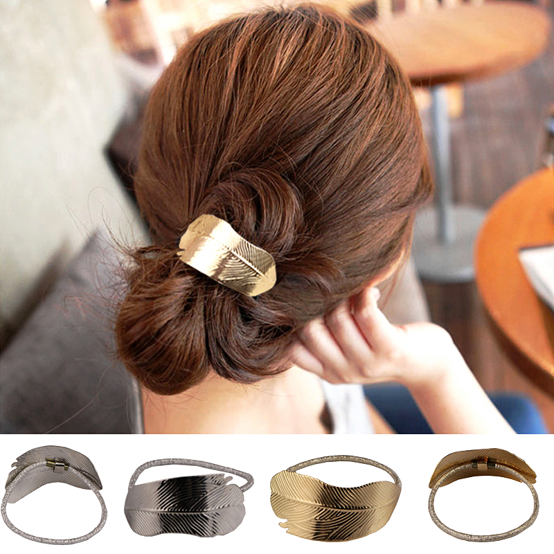 2019 New Hot Sale Retro Trend Leaf Feather Metal Hair Accessories Scrunchie Elastic Ponytail Rubber Band   Headwear   For Women