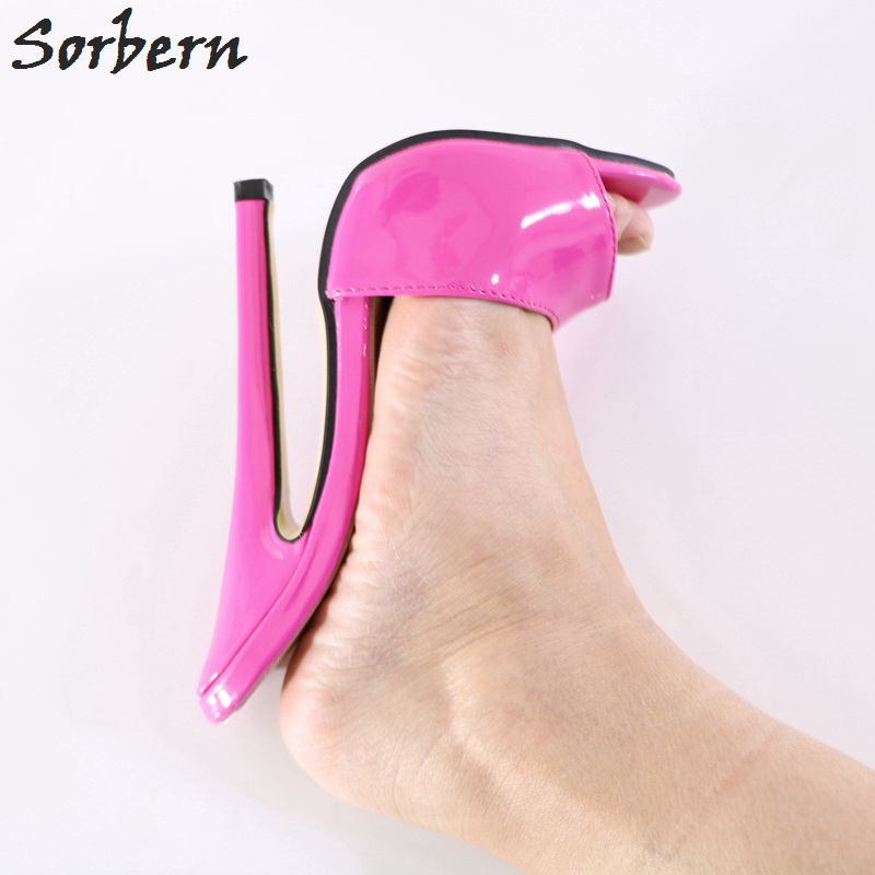 Sorbern Peach Open Toe Slippers Women Shiny Ultra High Heels Slides Ladies Mules Shoes Women Designer Shoes Summer Slippers aimeigao large size summer slides women slippers ladies flat heels shoes open toe comfortable outside slippers women shoes