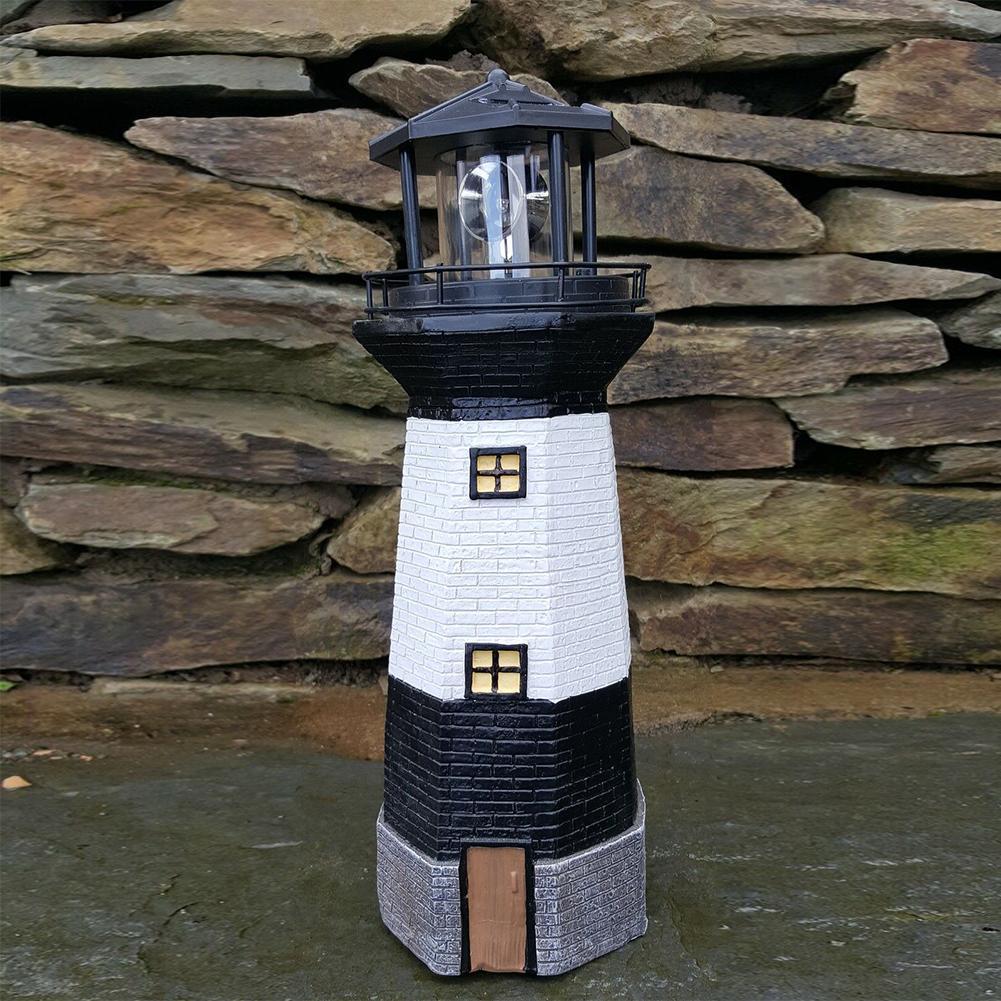 1PCS Black Solar Rotary Lighthouse Lamp For Yard Path Lawn Garden Patio Villa Decorative Lantern Solar Powered Decorative Light