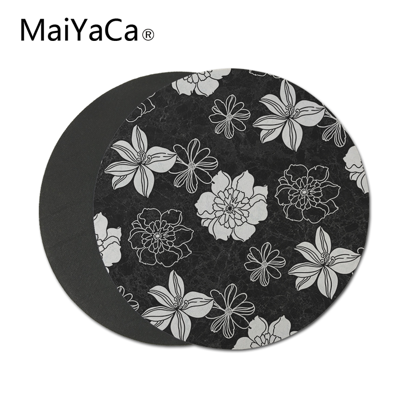 MaiYaCa classic black-and-white-flowers small Mouse Pad For Office Gaming Mouse Pads Round Slim mousepads