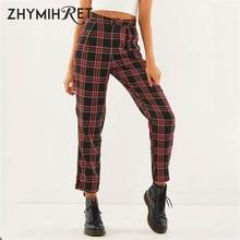 ZHYMIHRET 2019 Autumn Cotton Straight Plaid Women's Pants Ankle-Length Zipper