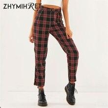 ZHYMIHRET  2020 Autumn Cotton Straight Plaid Womens Pants  Ankle Length Zipper Capris Casual Mid Waist Trousers Pantalon Femme
