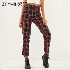 Image 1 - ZHYMIHRET  2020 Autumn Cotton Straight Plaid Womens Pants  Ankle Length Zipper Capris Casual Mid Waist Trousers Pantalon Femme
