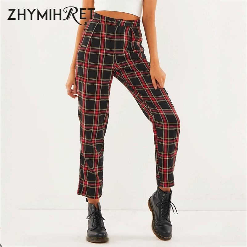 ZHYMIHRET 2020 Autumn Cotton Straight Plaid Women's Pants Ankle-Length Zipper Capris Casual Mid Waist Trousers Pantalon Femme