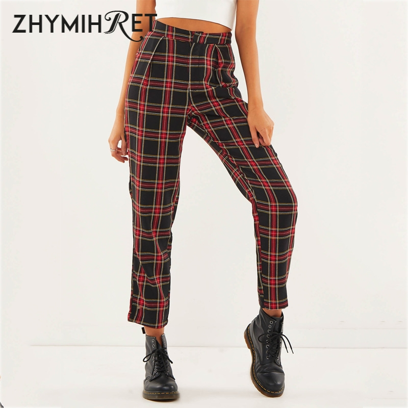 ZHYMIHRET Autumn Cotton Straight Plaid Women's   Pants   Ankle-Length Zipper   Capris   Casual Loose Mid Waist Trousers Pantalon Femme
