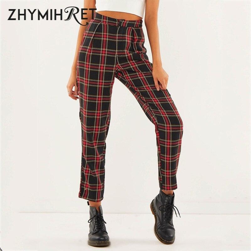 Zhymihret 2019 outono algodão em linha reta xadrez calças femininas tornozelo-comprimento zíper capris casual meados calças de cintura pantalon femme