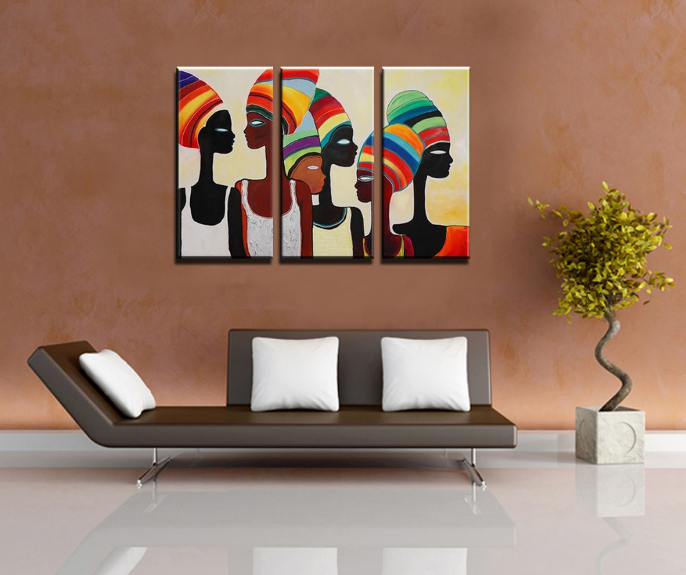 Hand painted modern 3 panel canvas wall art sexy nude art picture women african art painting oil canvas pictures for living room in painting calligraphy