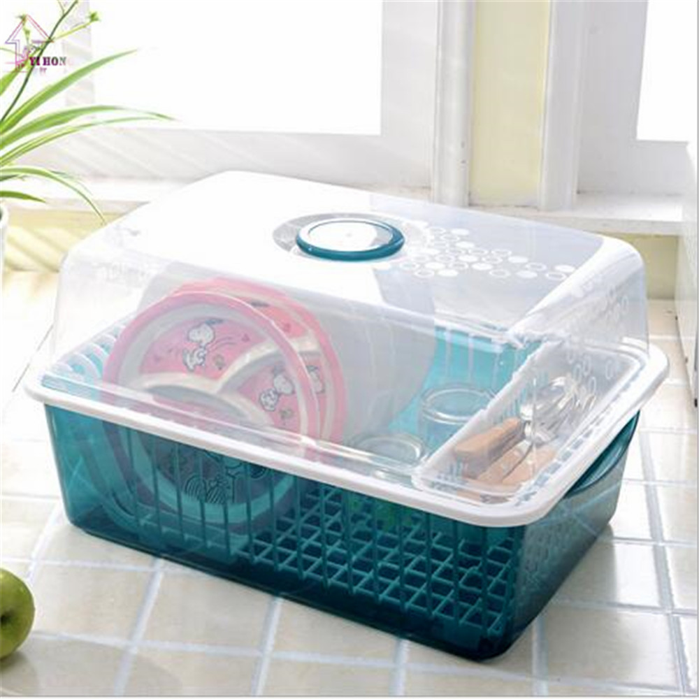 YI HONG Draining Shelf With Transparent Cover Kitchen Practical ...
