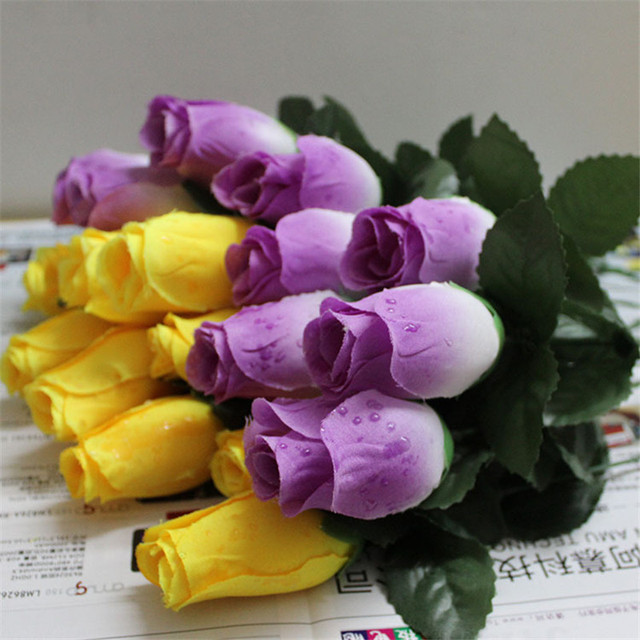 Rose flowers artificial single bunch purple yellow silk flower for rose flowers artificial single bunch purple yellow silk flower for home party wedding decoration 10pcs mightylinksfo