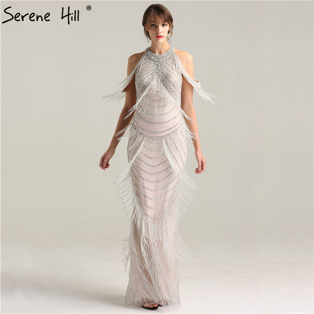 Dubai Luxury Tassel Beading Shaking Evening Dresses Silver Backless Sexy  Mermaid Evening Gowns 2018 Serene Hill BLA6229 581e007620f6