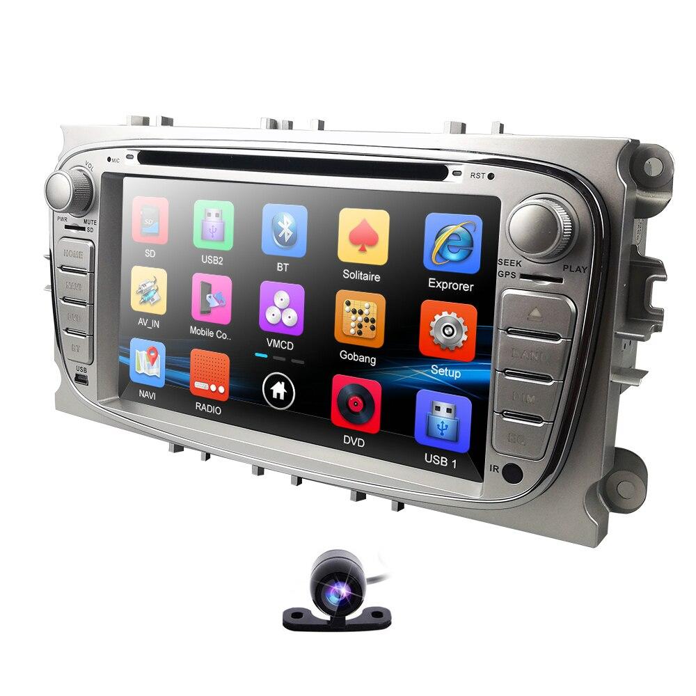 HIZPO lecteur DVD de voiture 7 pouces pour Ford Focus 2 s-max c-max Mondeo 4 Galaxy Kuga 2008-2010 RDS DAB + OBD2 miroir lien caméra gratuite
