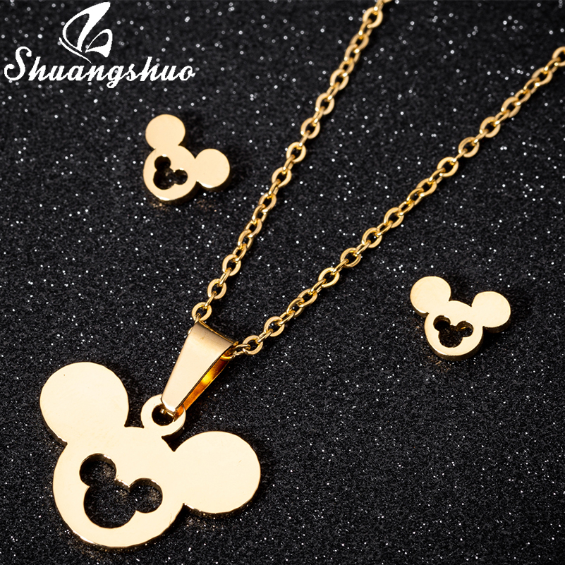 Shuangshuo Gold Jewelry For Women Cute Animal Mickey Earrings Stainless Steel Stud Earrings Children Girl Gifts Accessiories