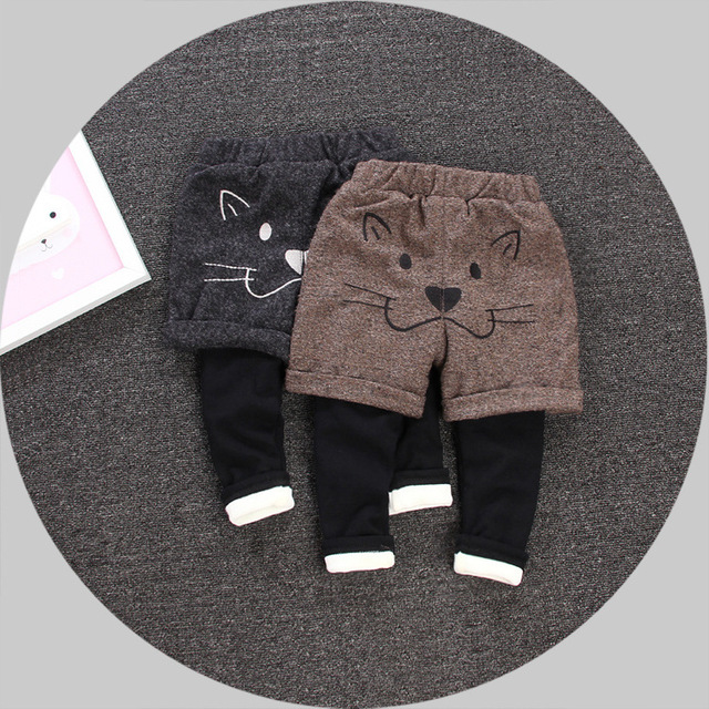 Children's Winter Cotton Plus Cashmere Thickened False Two Pants Warm Lovely Casual Trousers Free Shipping