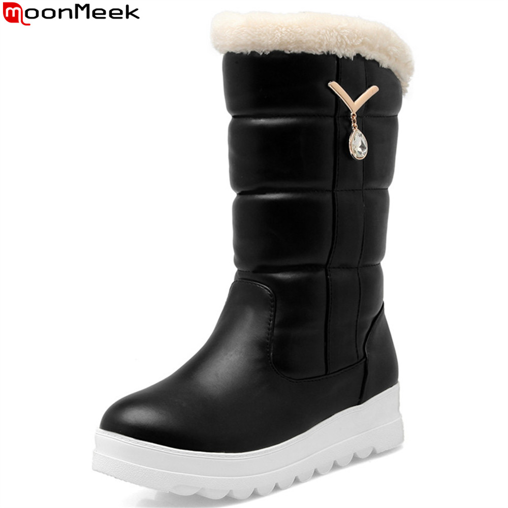 MoonMeek fashion new arrival women shoes round toe black pink white ladies snow boots flat with keep warm mid calf boots women snow boots winter warm shoes solid color flat ladies snow boots round toe mid calf women boot platform girls school shoes