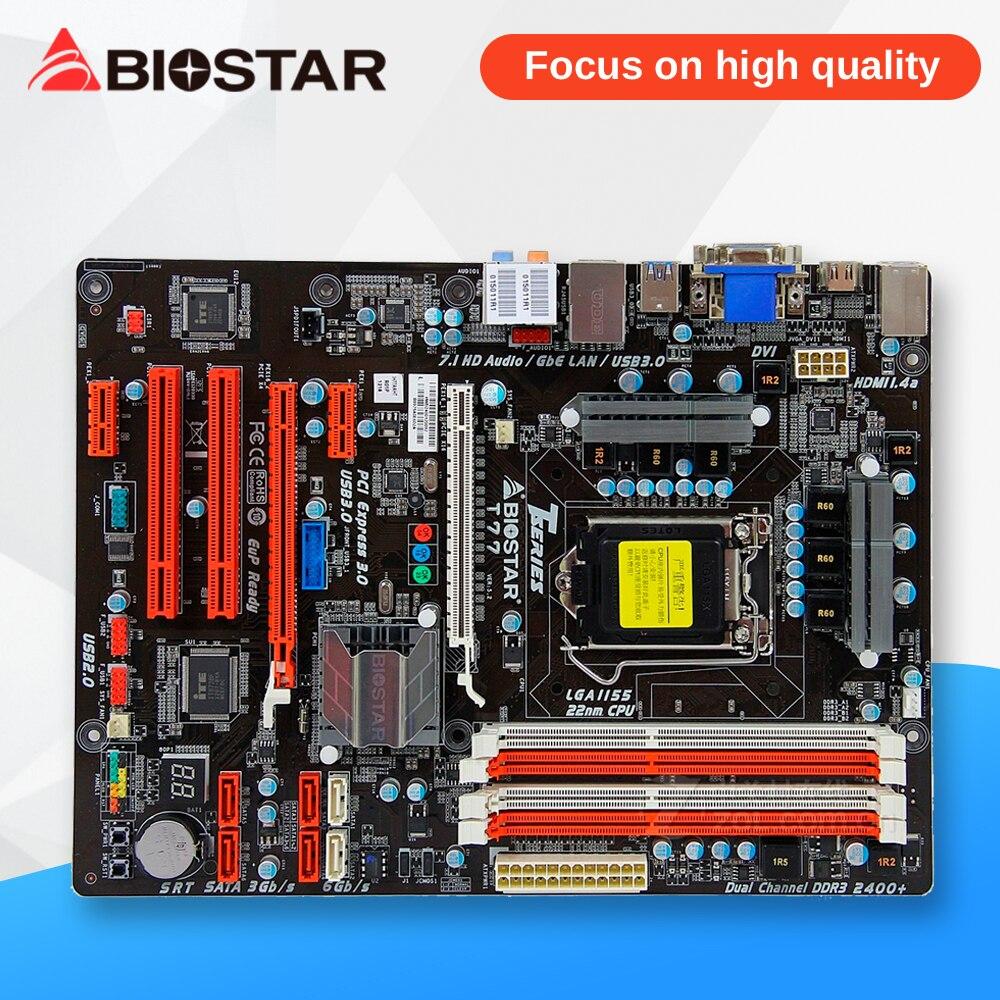 BIOSTAR T77 Desktop Motherboard H77 LGA 1155 DDR3 32G SATA3 USB3.0 ATX biostar tz75b desktop motherboard z75 lga 1155 ddr3 32g sata3 usb3 0 atx
