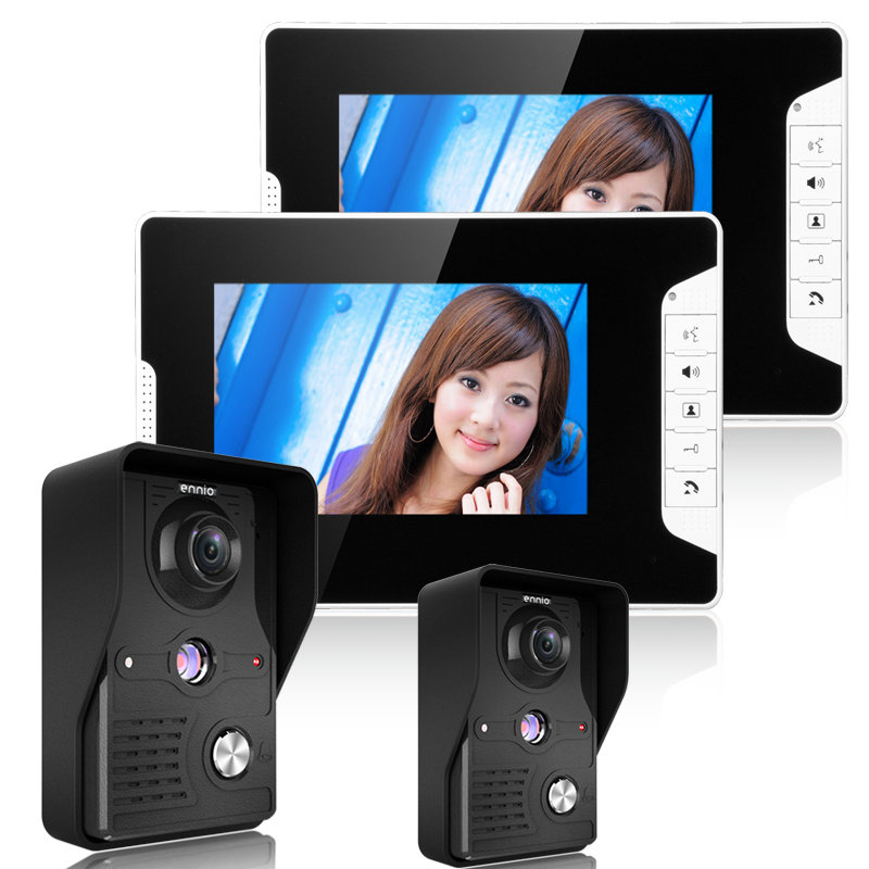 "Free Shipping! Wired 7"" color TFT LCD Video Door Phone Doorbell Intercom Kit 2-camera 2-monitor Night Vision"