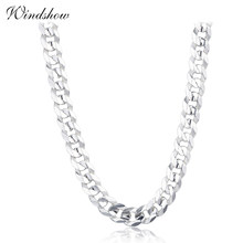 925 Sterling Silver Curb Chain Link Necklaces Women Men Jewelry collares kolye Collier Hiphop 50cm 55cm 60cm 4mm 6mm ketting(China)