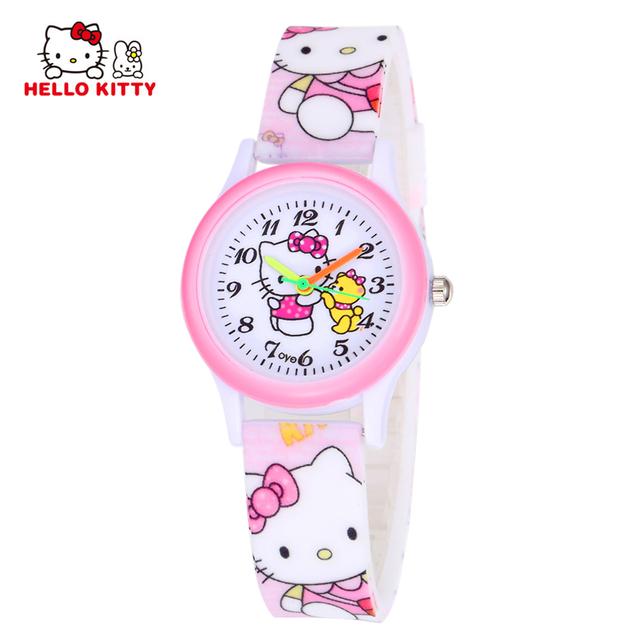 Hello Kitty Kids Watches Girls Children Pink Dress Wrist Watch Cute Child Cartoon Silicone Baby Clock Saat Relogio Montre Enfant