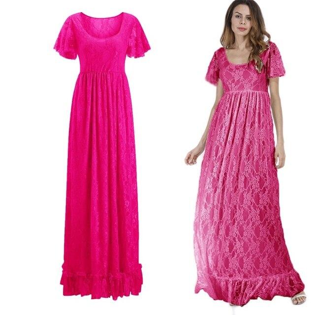 Mujeres bohemio blanco encaje otoño Crochet Casual manga larga más tamaño rosa/Blanco/negro/rojo vestido de mujer de la ropa más ropa de tamaño