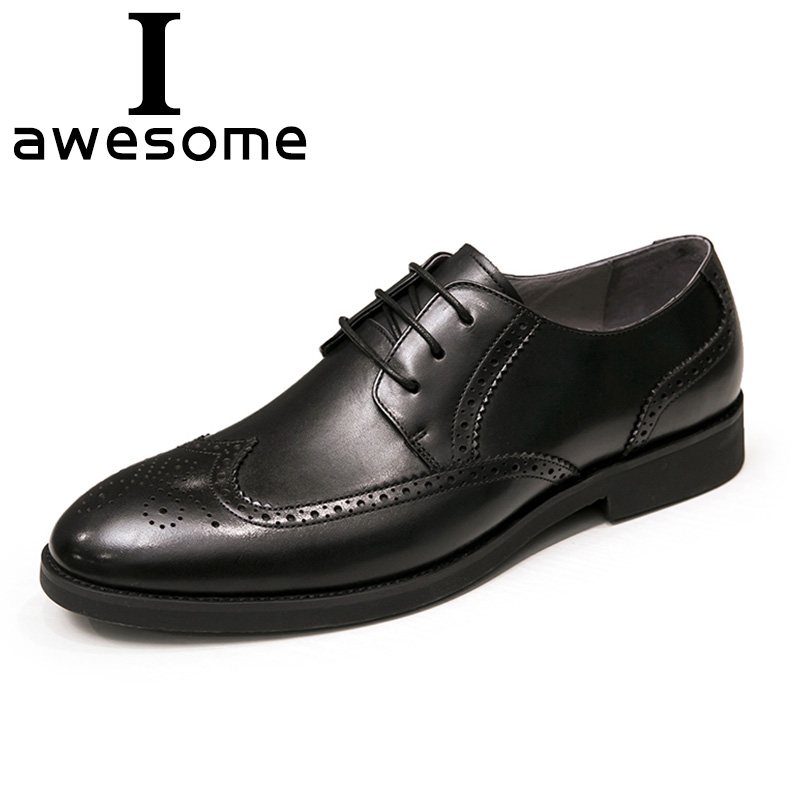 100% Genuine Leather Brogue Business Formal Dress Men Shoes Classic Office Wedding Mens Shoes Casual Oxford Wedding Male Italian men shoes genuine leather italian designer fashion dress shoes classic formal brogue shoes for male footwear wedding business