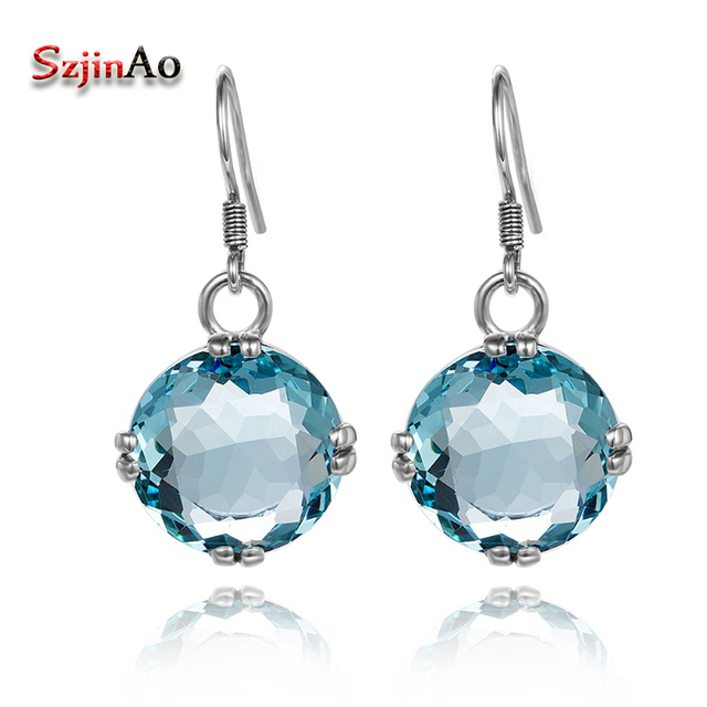 Szjinao Unique Custom Hearts 925 Sterling Silver Vintage Earrings For Women Oval Aquamarine Wedding Whole Fashion