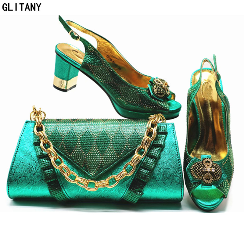 En Talon Dark Les De Nouveauté Chaussures Pour Italie Nigérian or Et sliver Sacs Ensemble Mariage D'été Rouge vin Correspondre Mis À Blue green Avec Haut Femmes tYw7Yq