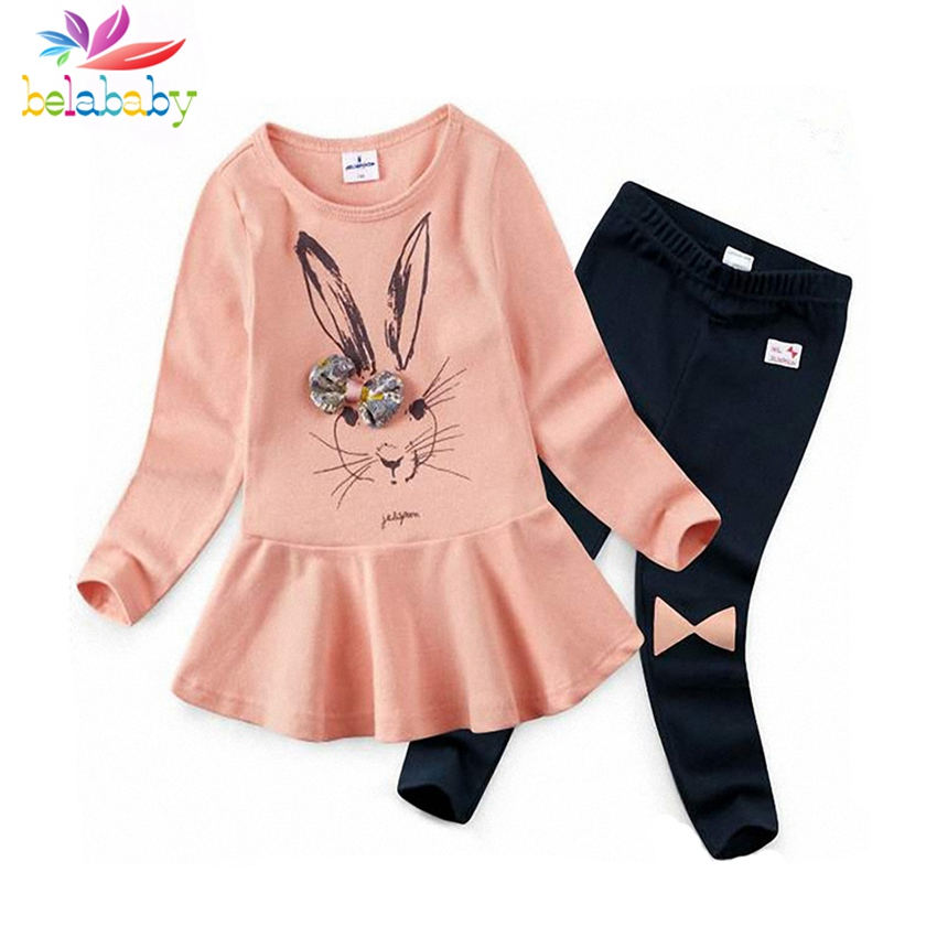 Belababy Girls Cartoon Rabbit Print Long Sleeve Dress+Pants Baby Girl Suit Kids Clothes Fashion Style Girl Clothing Set with Bow kids baby girl clothing set fashion clothes 2016 girls sweatshirt long sleeve shirt with o neck