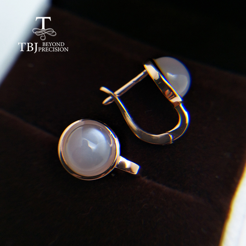 TBJ,natural White Moonstone Clasp Earring With Real India Gemstone 925 Sterling Silver For Girl Black Friday & Christmas Gift