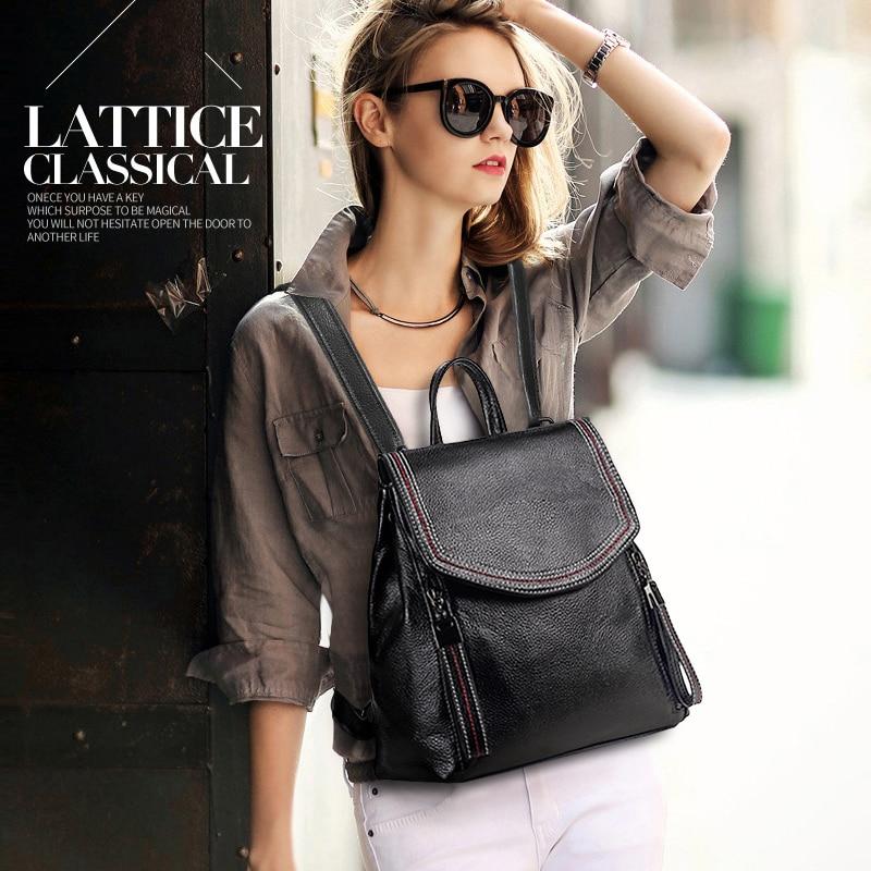 Nesitu высокое качество мода новый черный серый коричневый синий милый натуральная кожа маленький женский рюкзак девушка Женская дорожная сумка M191 - 6