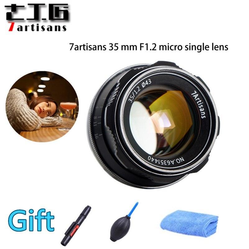 Original 7 artesanos 35mm F1.2 APS-C Manual lente fijo para montura E Canon M1 M2 Sony A6500 A6300 A5100 EOS-M Monte Fuji FX de montaje
