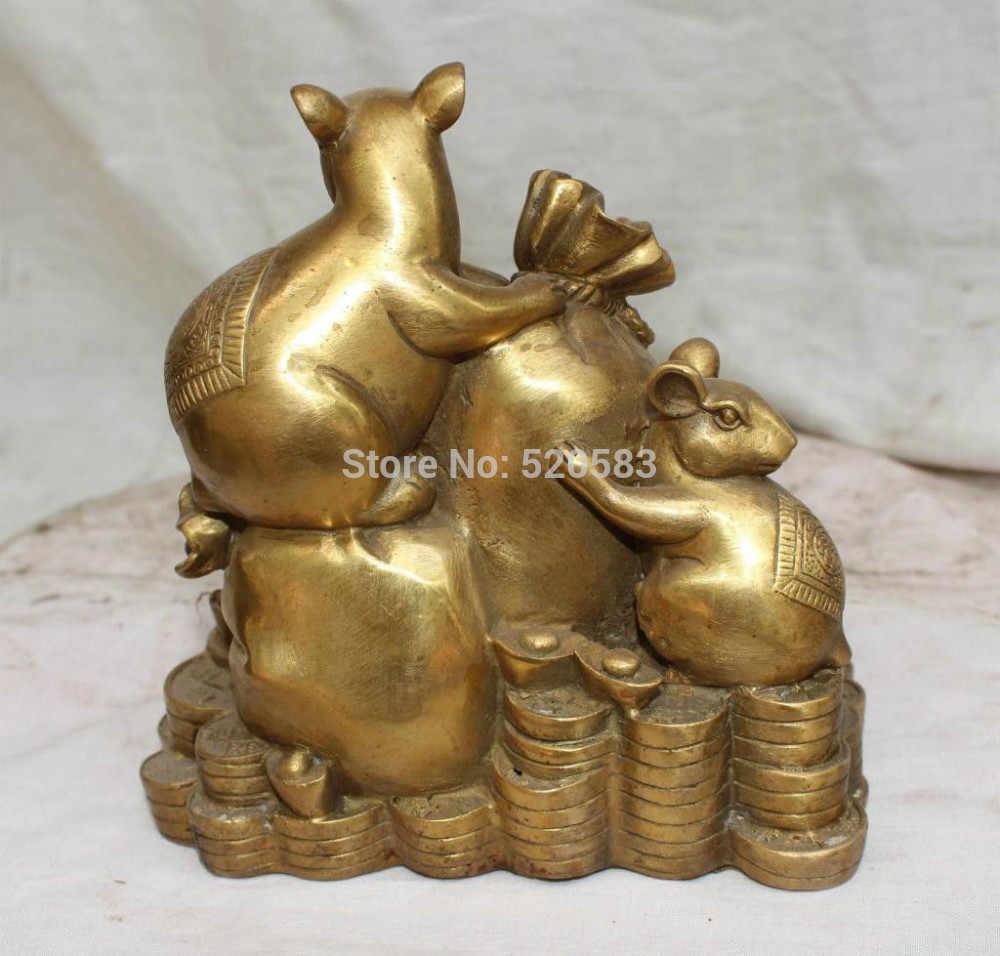 WBY Китайский Фэншуй Бронзовый Богатство YuanBao Деньги Мышь Животное Держать Мешок Статуя (0319 скидку 35%)