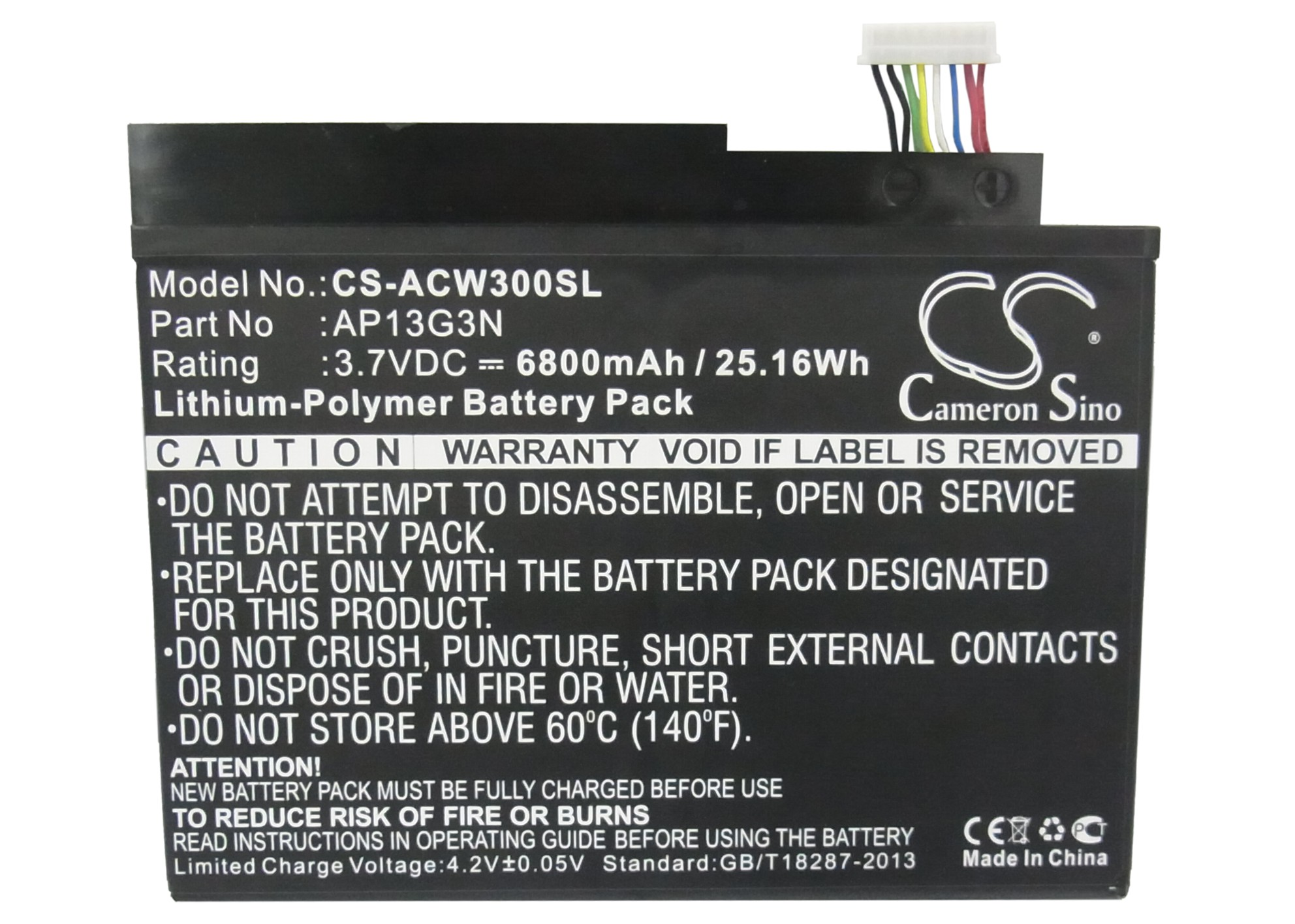 Cameron Sino 6800mAh Battery AP13G3N for Acer Iconia W3, Iconia W3-810, ZEIV4 cameron sino 2600mah battery 061834 63404 for bose soundlink mini