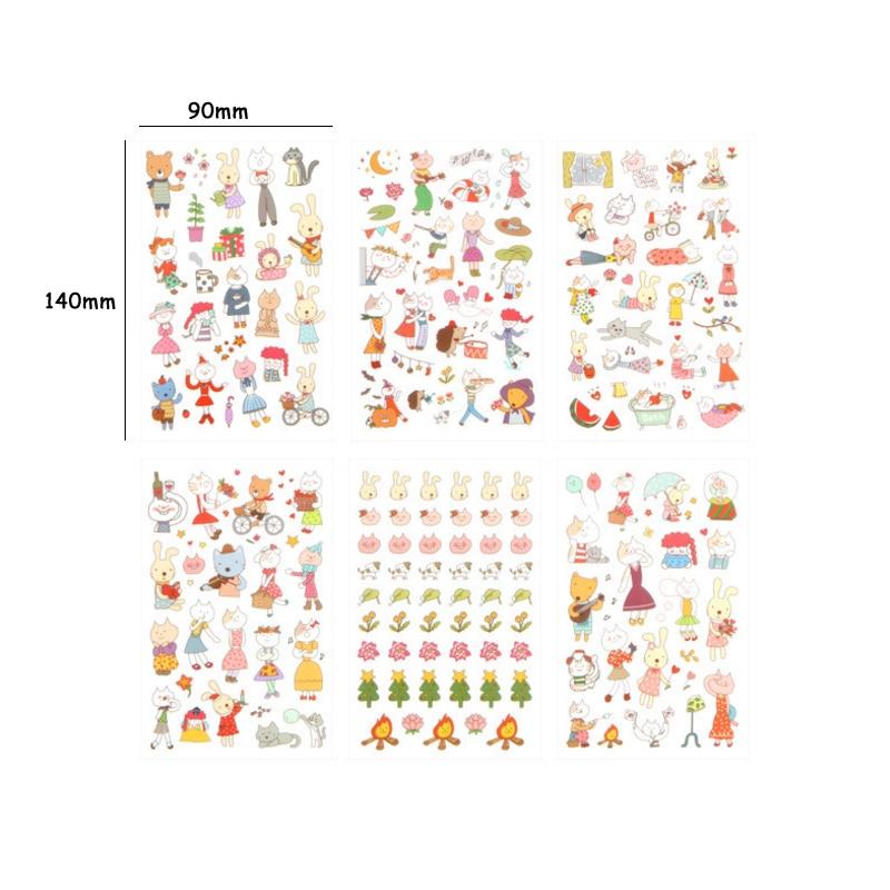 Купить с кэшбэком 15packs/lot Kawaii Mod Miss Cat Adhesive Decoration Stickers Diary Label Stickers Scrapbooking DIY Sticker Stationery Wholesale