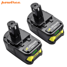 Powtree 6000mAh 18V For Ryobi P108 P107 Li-Ion Power Tool battery Replacement RB18L40 BPL1820 P107 P104 For ONE+ BIW18