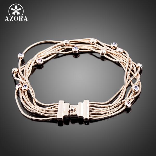 AZORA Seven Coil Rose Gold Color Stellux Austrian Crystal Jewelry Bracelets TS0026