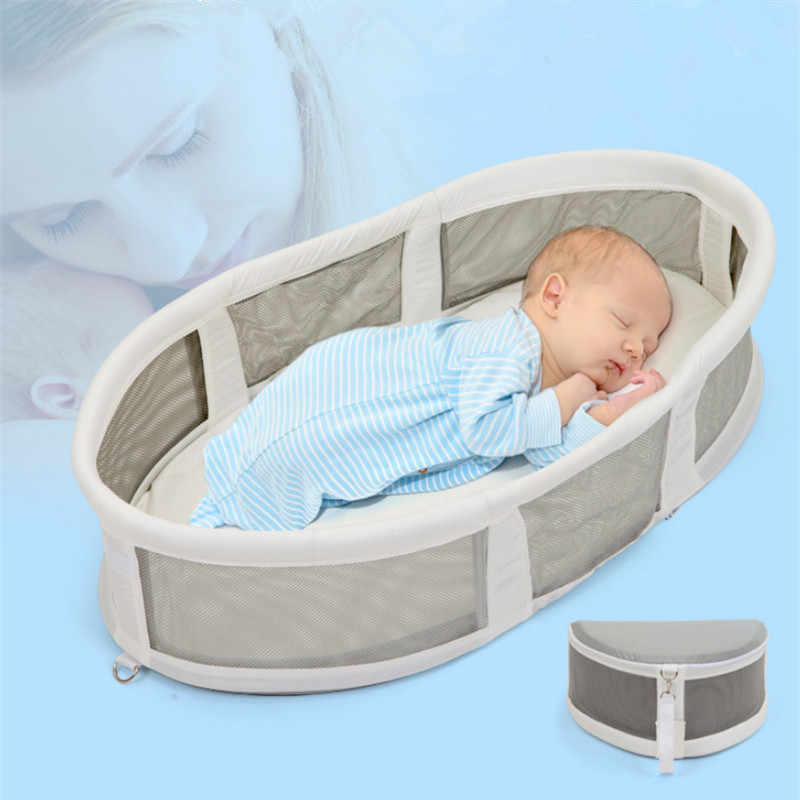 Child's Bed Multifunctional Travel Bed for child Newborn Portable Waterproof Cradle Knitted Cotton Foldable Sleeping Basket Nest