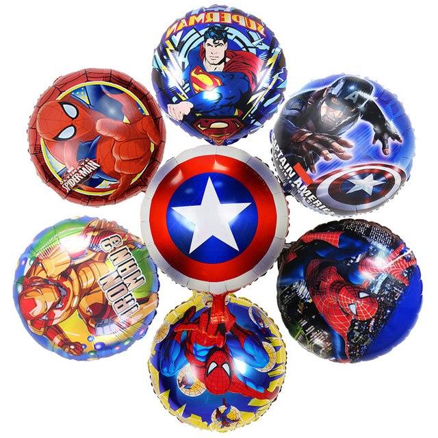 50 Pcs 7 estilos 18 polegadas Super Herói Avengers Spiderman Batman Balões Balão de alumínio Fontes Do Partido de Aniversário Das Crianças Brinquedos Do Bebê