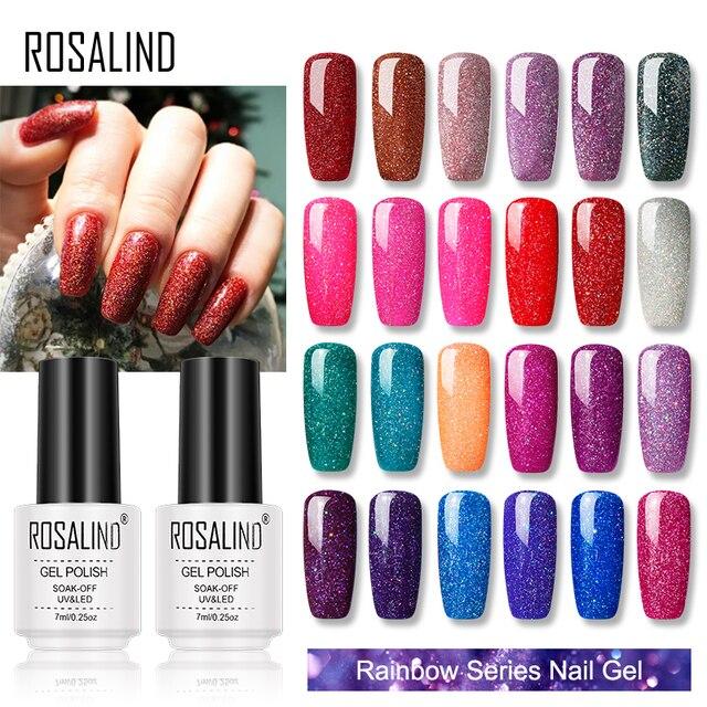 ROSALIND esmalte de Gel Arco Iris barnices UV híbrido Semi permanente uñas 7ML laca esmalte de uñas todo para manicura Primer uñas arte