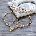Magnífico Tiara + Collar + pendiente conjunto de joyas de cristal mujeres corona accesorios de la boda de novia rhinestone colorido Colgante chocker como