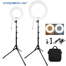 "capsaver 14"" 18"" Ring Light Makeup Lamp Bi color 3200K 5500K CRI90 Ringlight Annular Lamp for Video Photography YouTube Photo"