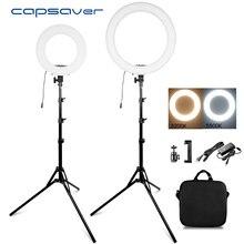 """Кольцевой светильник capsaver 14 """"18"""", лампа для макияжа, двухцветная кольцевая лампа 3200K 5500K CRI90, кольцевой светильник для видеофотографии, YouTube, фото"""
