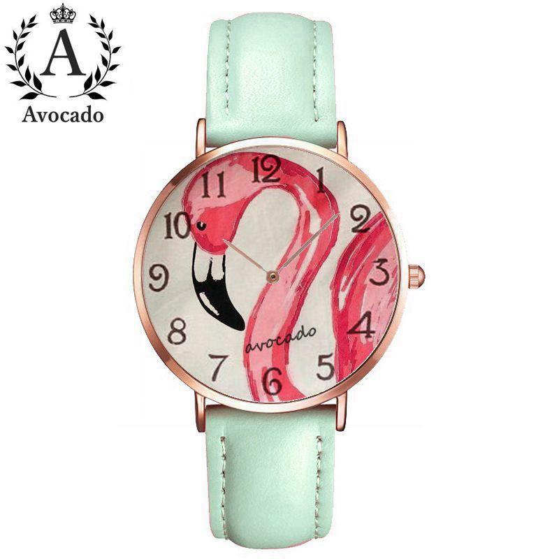 Avocado Flamingos Quartz Wrist Women Watches Cartoon Watch Paul Fille De Bande Impression Fashion Casual Marque Montre