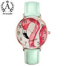 Avocado Flamingos Quartz Wrist Women watches Cartoon