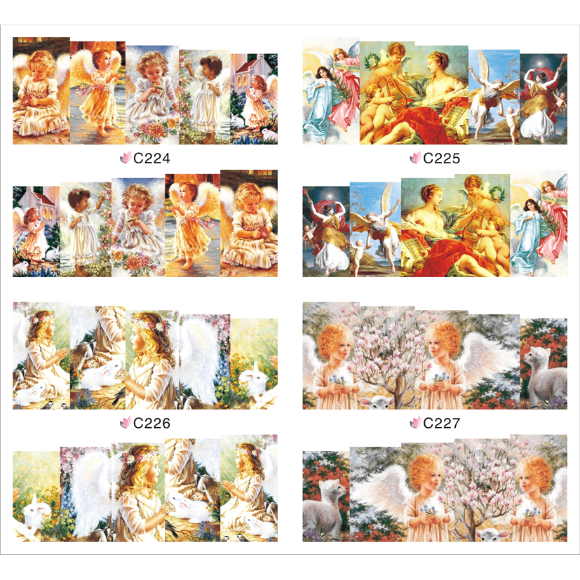 4 PACKS / LOT FULL COVER ABTRACT ANGEL CITY NAIL TATTOOS STICKER WATER DECAL NAIL ART C224-227