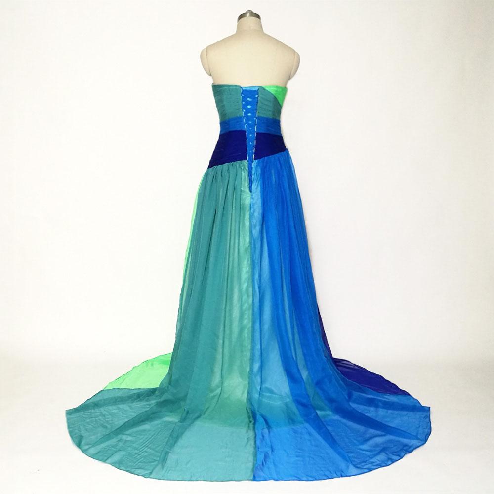 Colorful Floor Length Chiffon Sweetheart Long Evening Dress