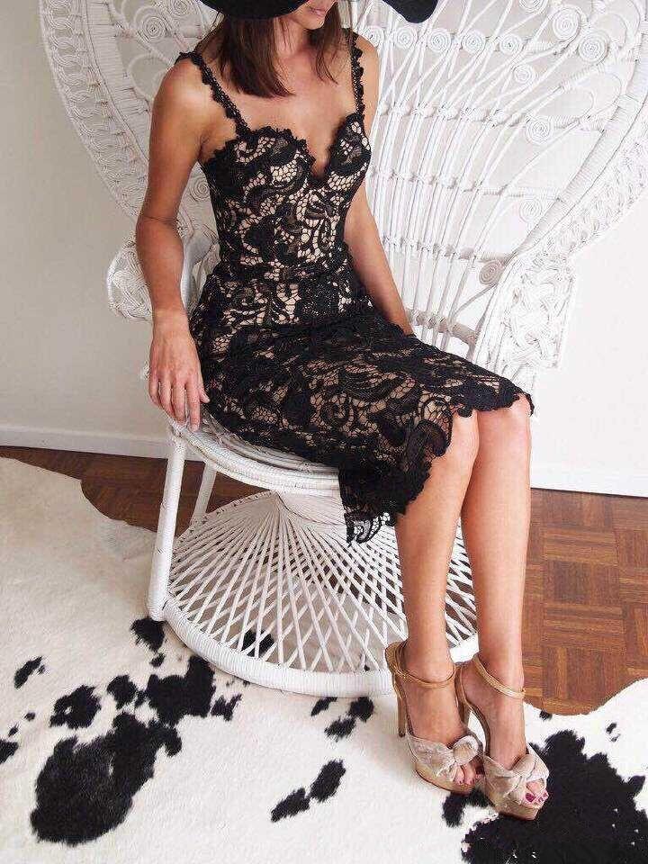 Summer Style White Black Lace Dress V Cami Bodycon Sexy cheap clothes vestidos de festa mujer Casual office Midi Dresses 7