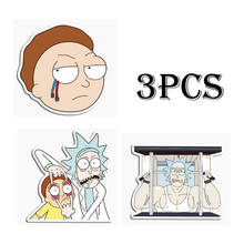 3pcs American Drama Rick and Morty Stickers Decal For Snowboard Luggage Car Fridge Car- Styling Laptop Stickers 35pcs rick and morty vinyl stickers decal for window car laptop