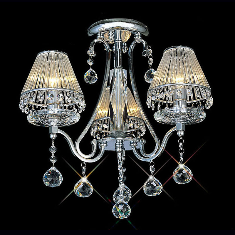 купить Pendant Light K9 Clear Crystal and Glass Hardware modern hanging 3 Heads design Lamp Dining Room E14 LED Bulb Silver cover недорого