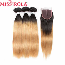 Miss Rola Straight Hair Brazilian Hair Weave Bundles Ombre 100% Human Hair Bundles with Closure T1B/27 Hair Extensions Non-Remy(China)
