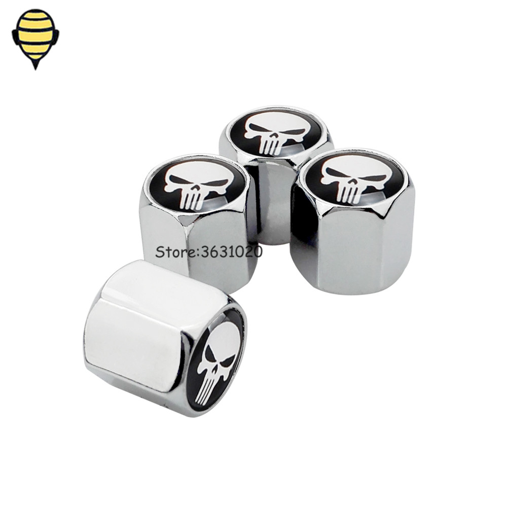 Car Accessories Auto Wheel Rims Tire Valve Stem Caps For Skull Logo For Cadillac Buick Kuga Audi A3 A4 Bmw Benz GLK ML KIA